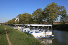 Boats on Canal du Midi, France Stock Photography