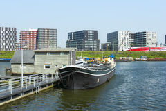 Boats on the canal in East of Amsterdam city center Royalty Free Stock Photo