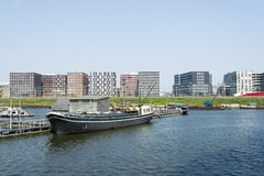 Boats on the canal in East of Amsterdam city center Stock Images