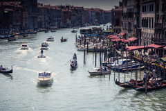 Boats on Canal Grande in Venice Royalty Free Stock Images
