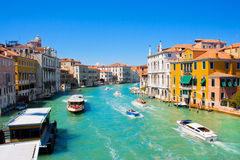Boats on Canal Grande in Venice, Italy Royalty Free Stock Photo