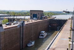 Boats in a canal lock. Lock on Welland canal with two boats Royalty Free Stock Photos