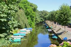 Boats canal water Naarden, Netherlands Royalty Free Stock Photos