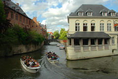 2 boats on the canals of Bruges Stock Photography