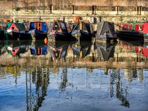 Boats in the canals in London on the way to Camden Royalty Free Stock Photos