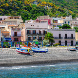 Boats at Canneto Beach, Lipari. Stock Images