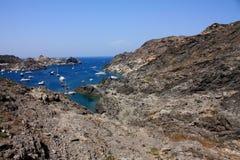 Boats at Cap de Creus, Girona, Costa Brava, Spain royalty free stock photography