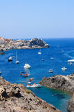 Boats at Cap de Creus, Girona, Costa Brava, Spain. The Cap de Creus, a natural park, is ideal for excursions on foot or by boat. Situated in the northern Costa Stock Photos
