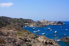 Boats at Cap de Creus, Girona, Costa Brava, Spain Royalty Free Stock Photography