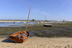 Boats at  Cap-Ferret in France. Boats at low tide at Cap-Ferret, ostreicole commune located on shore of Arcachon Bay, in the Gironde department in southwestern Royalty Free Stock Photography