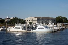 Boats at Cape Cod. Boats in the harbor at Cape Cod Stock Photo