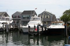 Boats at Cape Cod. Boats in the harbor at Cape Cod Royalty Free Stock Image