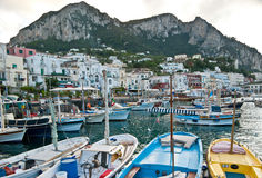 The boats in Capri harbour Stock Image