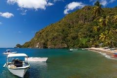 Boats On Caribbean Beach Royalty Free Stock Photos