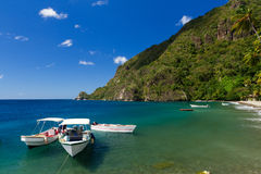Boats On Caribbean Beach Stock Photography