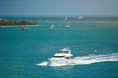 Boats in caribbean sea coast Royalty Free Stock Photos