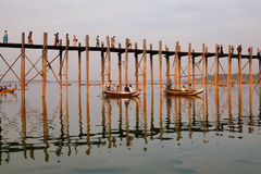 The boats carrying tourists on the lake in Mandalay, Myanmar Stock Photo