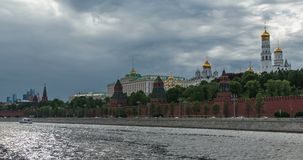 Boats and cars outside Kremlin, Moscow, Russia stock footage