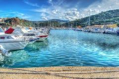 Boats in Castelsardo harbor in hdr Stock Photos