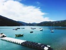 Boats in Castillon lake Royalty Free Stock Photo