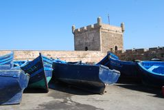 Boats And Castle At Essaouira Royalty Free Stock Photos