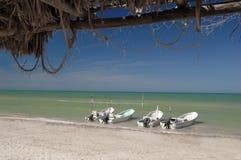 Boats on Celestun beach royalty free stock photo