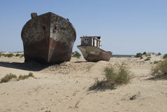 Boats cemetary in Aral Sea area Royalty Free Stock Photography