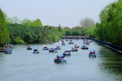 Boats at Century Park Shanghai Stock Photos