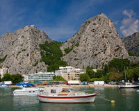Boats on Cetina river Stock Images