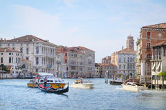 boats on a channel in Venice Stock Images