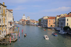boats on a channel in Venice Royalty Free Stock Photo