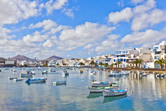 Boats at the Charco de San Gines, the old harbor of Arrecife, Lanzarote Royalty Free Stock Photo