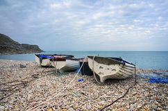 Boats at Chesil Cove Royalty Free Stock Photos