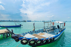 Boats at the Chew Jetty which is one of the UNESCO World Heritage Site in Penang. Penang,Malaysia - July 17,2015 : Boats at the Chew Jetty which is one of the Royalty Free Stock Image