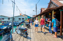 Boats at the Chew Jetty which is one of the UNESCO World Heritage Site in Penang. Penang,Malaysia - July 17,2015 : Chew Jetty which is one of the UNESCO World Stock Photography