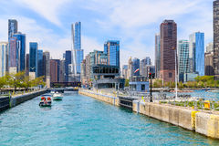 Boats in Chicago lock. Chicago, USA - May 24, 2014: Several boats going through Chicago lock from Chicago River to Lake Michigan Stock Images