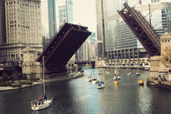Boats on Chicago River Stock Photography