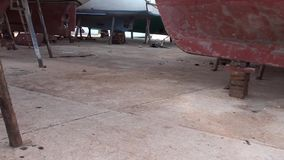 Boats on chocks at dry dock. Boats on chocks at the dry dock stock video