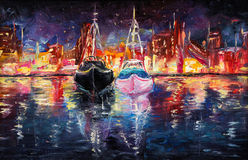 Boats and city. Original oil painting of wharf full of boats at night on canvas.Abstract city and pier.Modern Impressionism Stock Photos