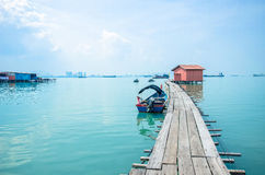 Boats at the Clan Jetty which is one of the UNESCO World Heritage Site in Penang. Stock Photography