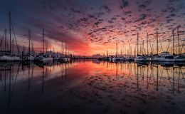 Boats, Clouds, Dawn Royalty Free Stock Image
