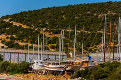 Boats on the coast of the Aegean sea. In city of Bodrum, Turska royalty free stock images