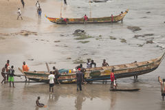 Boats on the coast of Cape Coast, Ghana Royalty Free Stock Photos