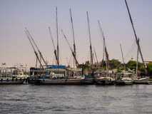 Boats at coast. River Nile Royalty Free Stock Photo