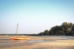 Boats at the coast of Vilanculos Stock Photo
