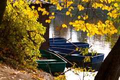 Boats at the coast. Wait for people on walk on water Royalty Free Stock Photos