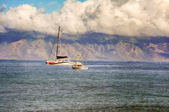 Boats and the coastline in Maui island in Hawaii. Stock Photography