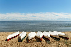 Boats on the coastline. Royalty Free Stock Images