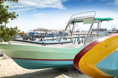 Boats colorful in Isla Mujeres beach Mexico Royalty Free Stock Images
