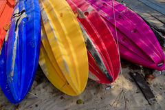 Boats colorful on the sand Stock Photo